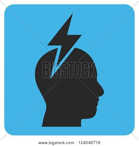 Headache vector icon. Image style is bicolor flat headache pictogram symbol drawn on a rounded square with blue and gray colors.