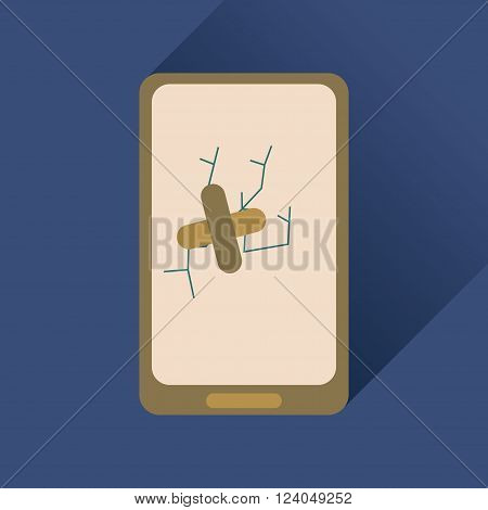 Flat web icon with long shadow mobile broken
