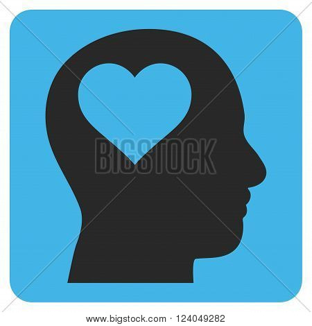 Lover Head vector icon symbol. Image style is bicolor flat lover head iconic symbol drawn on a rounded square with blue and gray colors.