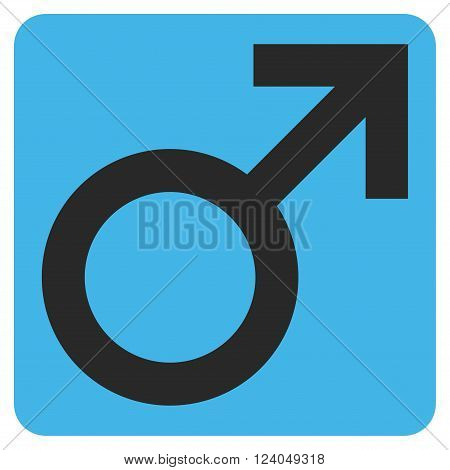 Male Symbol vector icon symbol. Image style is bicolor flat male symbol pictogram symbol drawn on a rounded square with blue and gray colors.