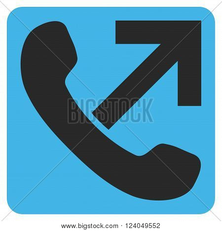 Outgoing Call vector icon symbol. Image style is bicolor flat outgoing call iconic symbol drawn on a rounded square with blue and gray colors.
