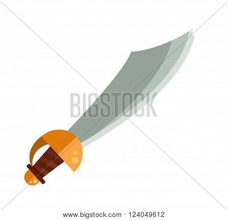 Knight sword isolated cartoon vector illustration on white and medieval knight sword steel weapon and knight sword with a gold handle.