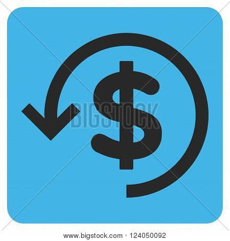 Refund vector icon symbol. Image style is bicolor flat refund pictogram symbol drawn on a rounded square with blue and gray colors.