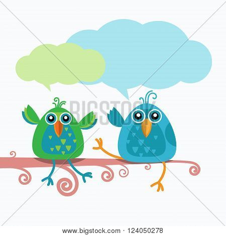 Two Birds Chat Communication Sitting on Branch Flat Vector Illustration