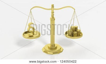 Balance scale with paragraph symbol and golden coins, isolated on white background. 3d rendering