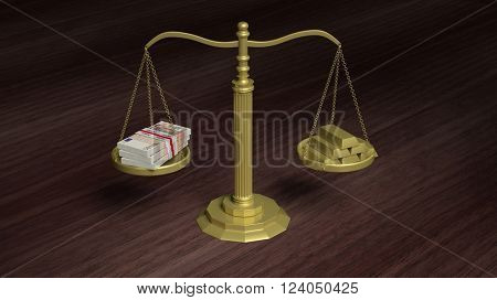 Balance scale with Euro packs and gold bars on wooden surface . 3d rendering