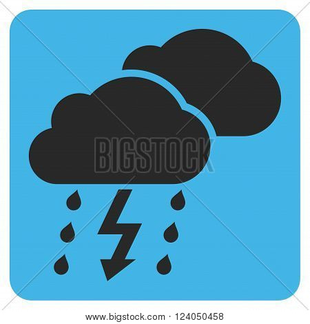 Thunderstorm vector icon. Image style is bicolor flat thunderstorm iconic symbol drawn on a rounded square with blue and gray colors.