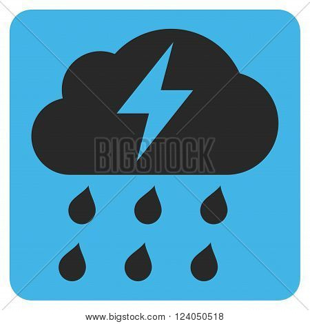 Thunderstorm vector pictogram. Image style is bicolor flat thunderstorm iconic symbol drawn on a rounded square with blue and gray colors.