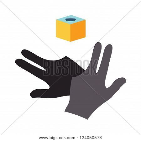 Billiards gloves vector icons illustration. Billiards icons gloves and piece of chalk isolated on white. Billiard icons set