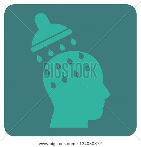 Brain Washing vector symbol. Image style is bicolor flat brain washing icon symbol drawn on a rounded square with cobalt and cyan colors.