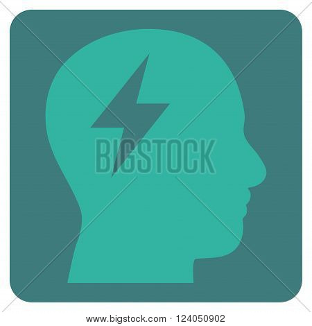 Brainstorming vector symbol. Image style is bicolor flat brainstorming pictogram symbol drawn on a rounded square with cobalt and cyan colors.