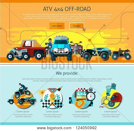 Offroad one page design with advertising symbols flat isolated vector illustration