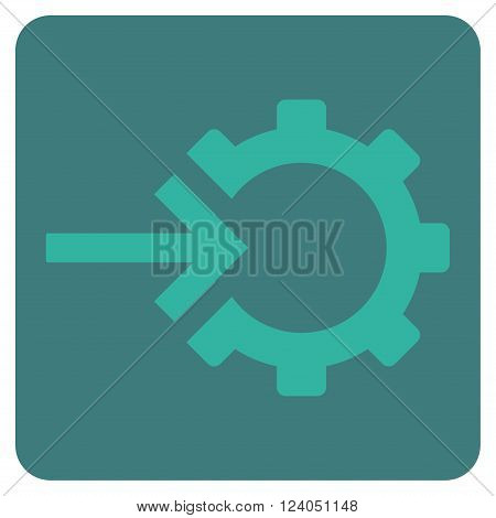 Cog Integration vector symbol. Image style is bicolor flat cog integration iconic symbol drawn on a rounded square with cobalt and cyan colors.