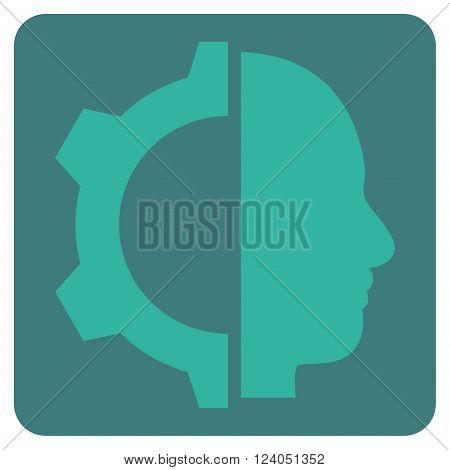 Cyborg Gear vector icon. Image style is bicolor flat cyborg gear pictogram symbol drawn on a rounded square with cobalt and cyan colors.