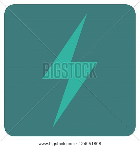 Electricity vector icon symbol. Image style is bicolor flat electricity iconic symbol drawn on a rounded square with cobalt and cyan colors.