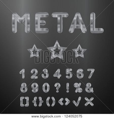 Metallic alphabet. Set of stainless 3d numbers. Vector isolated digits and punctuation marks on dark background.