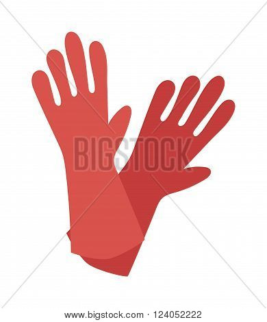 Red glove for hygiene cleaning and yellow rubber glove wash work protection. Rubber red gloves cartoon flat icon vector illustration.
