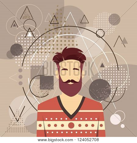Profile Icon Male Avatar Man Hipster Style Fashion Cartoon Guy Beard Portrait Casual Person Silhouette Face Abstract Triangular Background Sketch Line Flat Design Vector Illustration