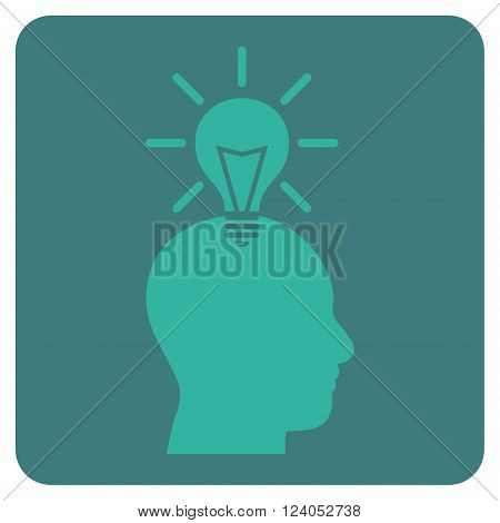 Genius Bulb vector icon. Image style is bicolor flat genius bulb iconic symbol drawn on a rounded square with cobalt and cyan colors.