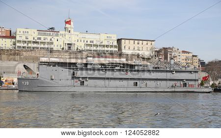 ISTANBUL TURKEY - MARCH 06 2016: Navy hospital ships in front of Navy hospital of Istanbul.