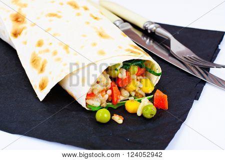 Burrito, Shawarma Lavash with Chicken and Vegetables Studio Photo