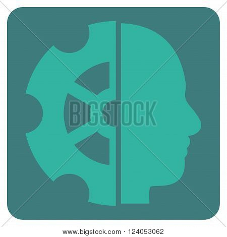Intellect vector pictogram. Image style is bicolor flat intellect iconic symbol drawn on a rounded square with cobalt and cyan colors.