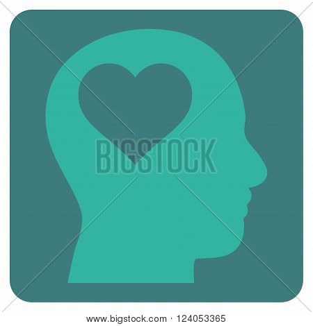 Lover Head vector icon symbol. Image style is bicolor flat lover head iconic symbol drawn on a rounded square with cobalt and cyan colors.