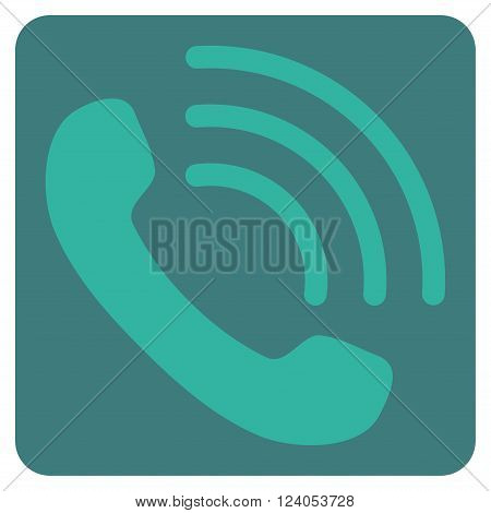 Phone Call vector icon. Image style is bicolor flat phone call icon symbol drawn on a rounded square with cobalt and cyan colors.