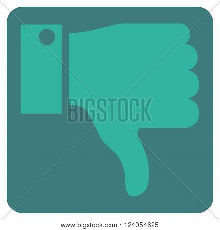 Thumb Down vector icon. Image style is bicolor flat thumb down icon symbol drawn on a rounded square with cobalt and cyan colors.