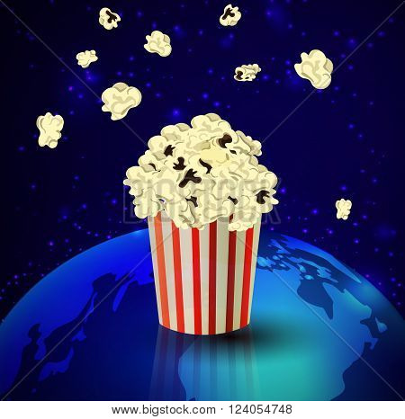 Popcorn and Earth  on dark space background