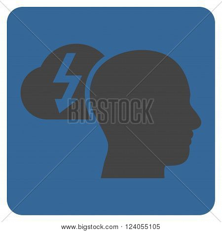 Brainstorming vector pictogram. Image style is bicolor flat brainstorming pictogram symbol drawn on a rounded square with cobalt and gray colors.