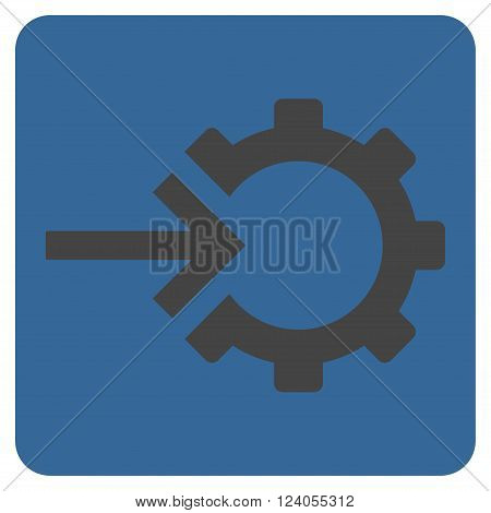 Cog Integration vector symbol. Image style is bicolor flat cog integration iconic symbol drawn on a rounded square with cobalt and gray colors.