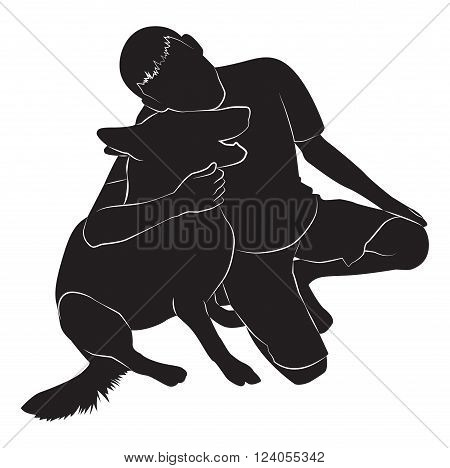 guy silhouette that hugs the dog. Vector illustration