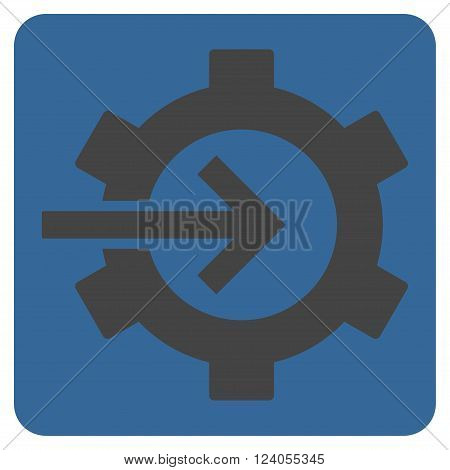 Cog Integration vector symbol. Image style is bicolor flat cog integration pictogram symbol drawn on a rounded square with cobalt and gray colors.