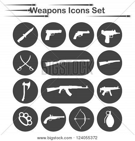 Weapon icon set, 14 icons on dark round plates, 2d vector, eps 8