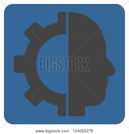 Cyborg Gear vector icon symbol. Image style is bicolor flat cyborg gear pictogram symbol drawn on a rounded square with cobalt and gray colors.