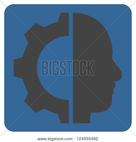 Cyborg Gear vector icon symbol. Image style is bicolor flat cyborg gear icon symbol drawn on a rounded square with cobalt and gray colors.