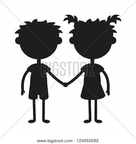 Twins kids holding hands black silhouette and cute twins kids together. Twins happy kids silhouette holding hands boy and girl vector illustration.