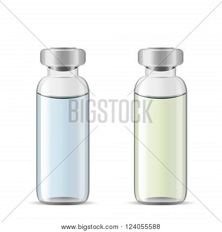 Tall medical vials with medicinal solution, 3d realistic vector of lab glassware, eye drops bottle, eps 10