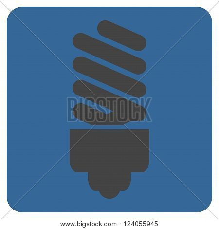Fluorescent Bulb vector icon symbol. Image style is bicolor flat fluorescent bulb iconic symbol drawn on a rounded square with cobalt and gray colors.