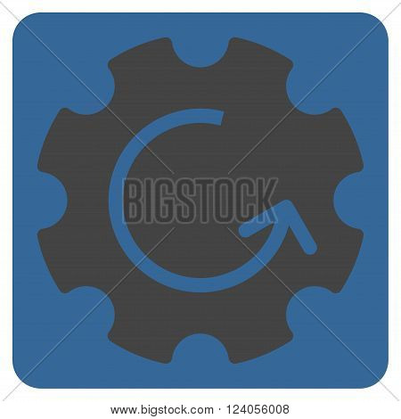 Gear Rotation vector icon. Image style is bicolor flat gear rotation pictogram symbol drawn on a rounded square with cobalt and gray colors.