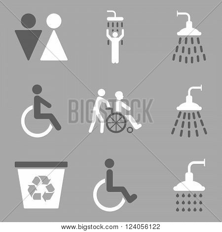 Toilet and Shower vector icon set. Style is bicolor dark gray and white flat symbols isolated on a silver background.