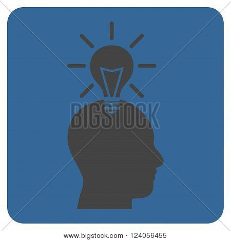 Genius Bulb vector symbol. Image style is bicolor flat genius bulb iconic symbol drawn on a rounded square with cobalt and gray colors.