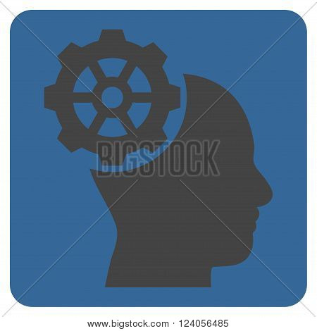 Head Gear vector icon. Image style is bicolor flat head gear icon symbol drawn on a rounded square with cobalt and gray colors.