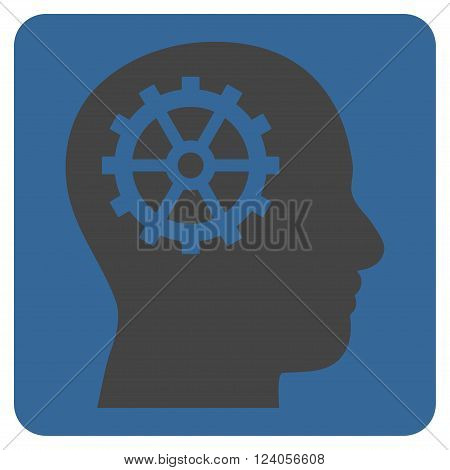 Intellect vector symbol. Image style is bicolor flat intellect pictogram symbol drawn on a rounded square with cobalt and gray colors.