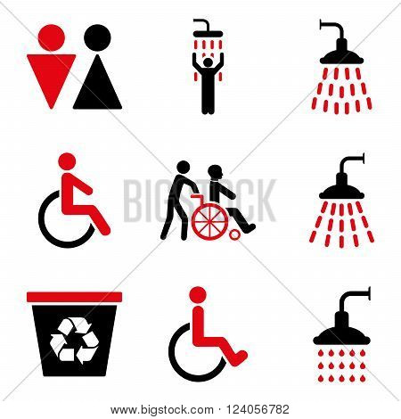 Toilet and Shower vector icon set. Style is bicolor intensive red and black flat symbols isolated on a white background.