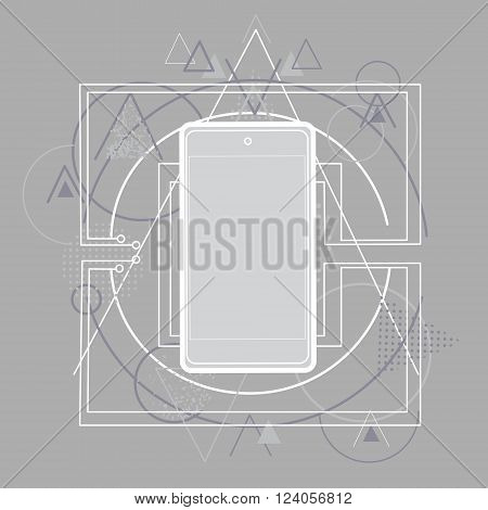 Smart Cell Phone Telephone Abstract Triangular Background Sketch Line Vector Illustration
