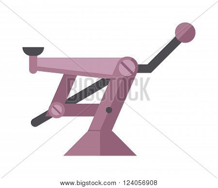 Car jack service equipment and car jack mechanic repair lever vector. Purple scissor car jack shot steel repair auto service lift flat vector illustration on white.