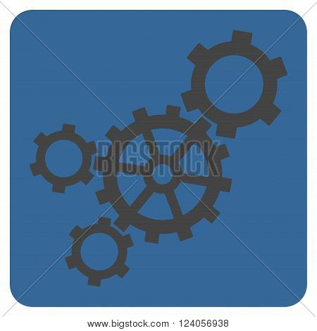 Mechanism vector icon. Image style is bicolor flat mechanism pictogram symbol drawn on a rounded square with cobalt and gray colors.