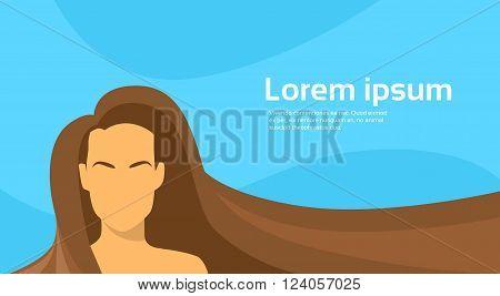 Woman Beauty Brunette Long Hair Silhouette Horizontal Banner Empty Copy Space Flat Vector Illustration